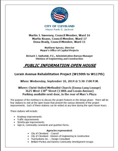 Lorain Ave - Public Meeting Flyer September 10 2014