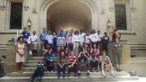 Students pose on the stairs of the College of Wooster on a West Park MyCom college exploration field trip.