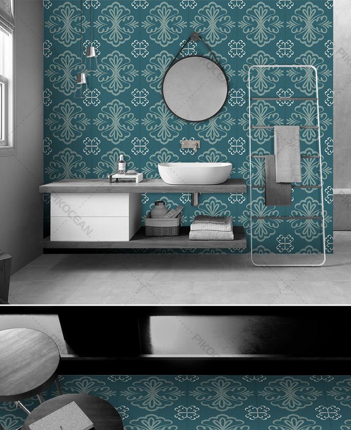 modern simple blue geometric pattern balcony floor tile tile bathroom wall tile