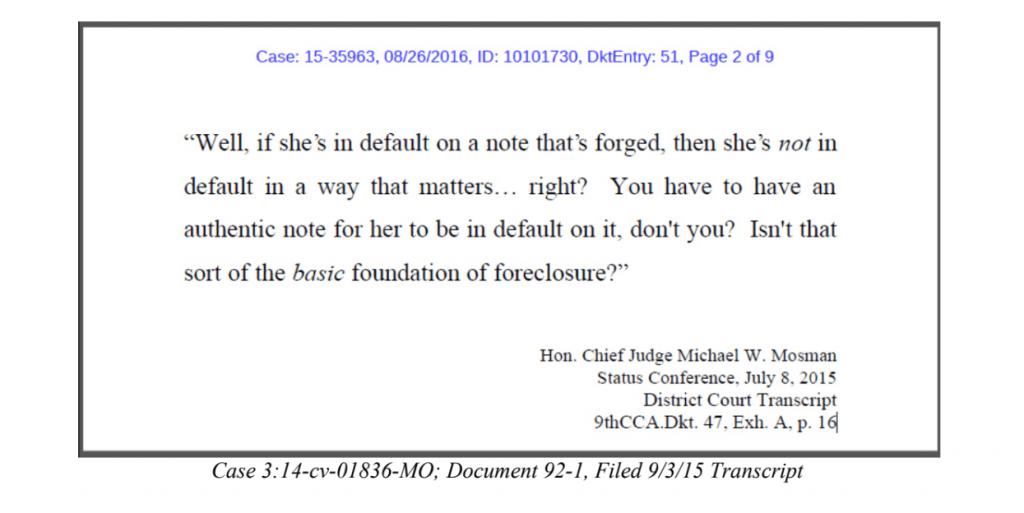 Judge Mosman Quote - Re-Default and Authentic Note