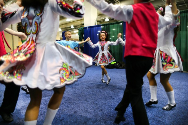Boston-3/26/13- Dancers from the Peter Smith School of Irish Dance from New Jersey practice their mixed under age 13 ceili dance at The World Irish Dancing Championships being held at the Hynes Convention Center.  It is only the second time in it's 40 year history that the eight-day event is held outside Ireland and Scotland. Organizers expect twenty-thousand people from around the globe to attend the event.