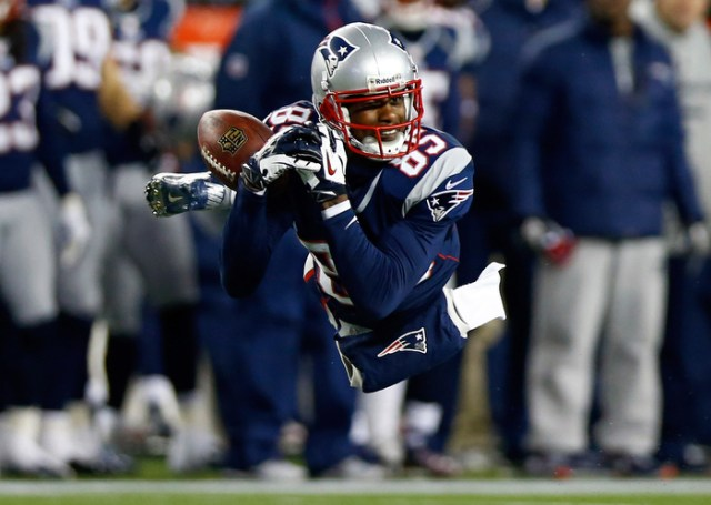 Brandon Lloyd #85 of the New England Patriots misses a catch against the Baltimore Ravens during the 2013 AFC Championship game at Gillette Stadium on January 20, 2013 in Foxboro, Massachusetts.