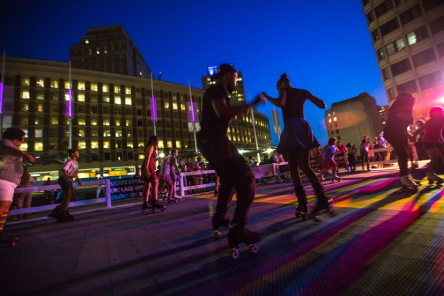 June 27, 2014 – A roller disco party takes place at City Hall Plaza in Boston, Mass.
