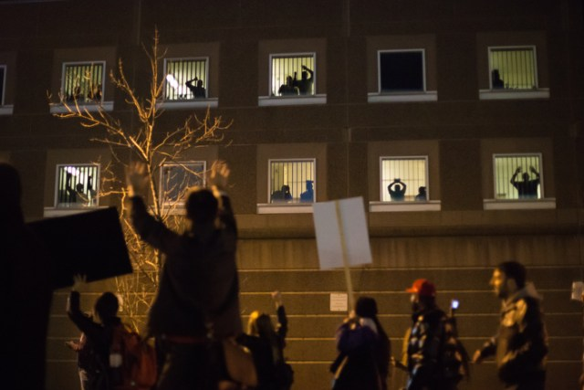 November 25, 2014 – Protestors march next to the South Bay House of Correction in Boston, Mass., after the grand jury in Ferguson, Mo., decided not to indict Officer Wilson.