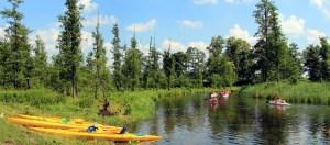 Wycieczka na Mazury, spływ kajakowy rzeką Krutynią oraz rajd rowerowy po Mazurskim Parku Krajobrazowym.