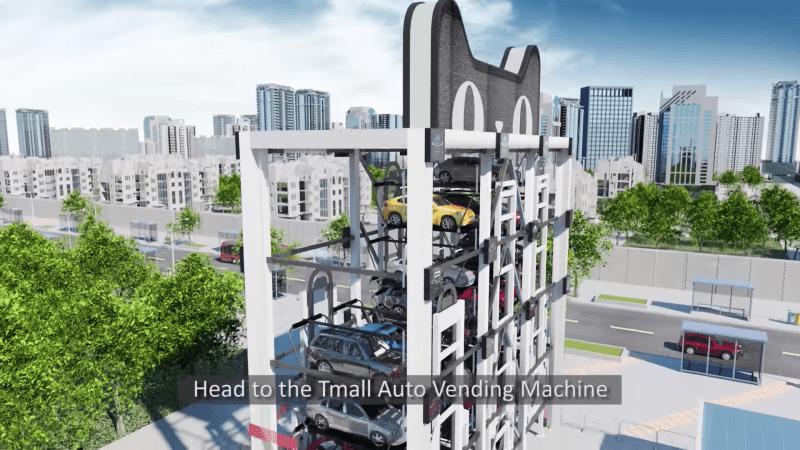 猫のマークの自動車自動販売機が中国に