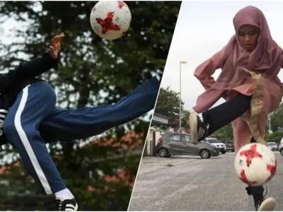 ヒジャブ姿の天才サッカー少女が魅せる凄技フリースタイル