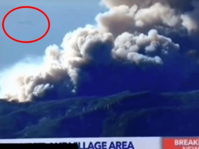 カリフォルニアの山火事現場に巨大UFO