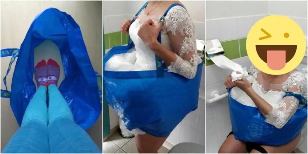 IKEAの青い袋は女子トイレで役立つ