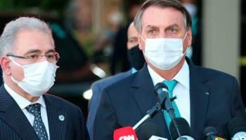 Presidente Bolsonaro e ministro da saúde Marcelo Queiroga
