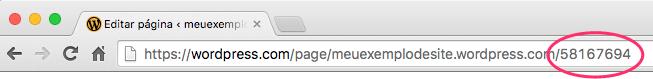 Localizando o ID da página