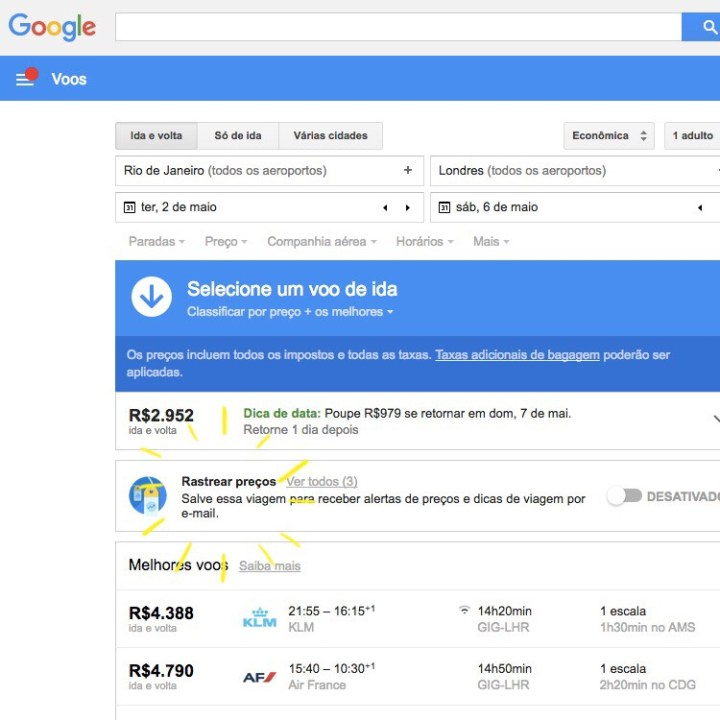 Google Flights dicas uso do site