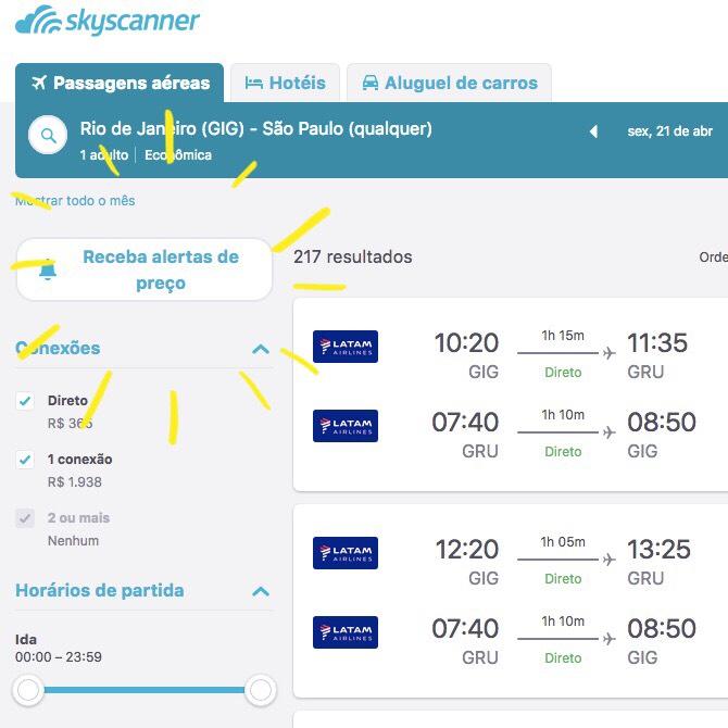 SkyScanner dicas compra passagem