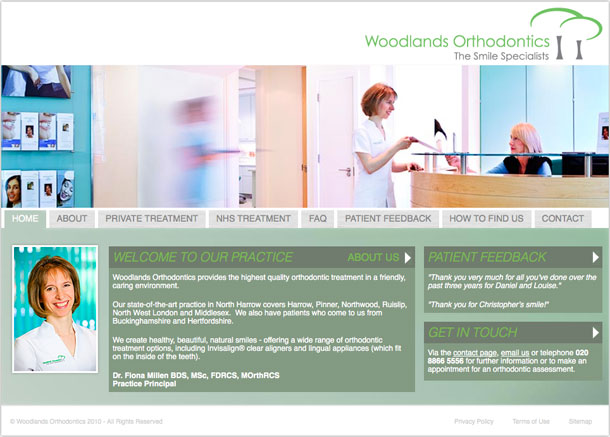 Woodlands Orthodontics website homepage