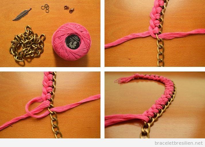 Bracelet diy avec une chaine et fils tress s bracelets - Manualidades para adultos paso a paso ...