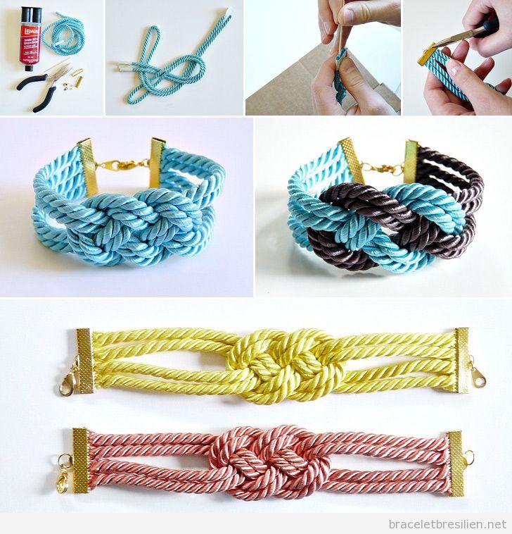 bracelet avec un noeud marin de 4 cordes tuto pas pas bracelets br siliens tout sur. Black Bedroom Furniture Sets. Home Design Ideas