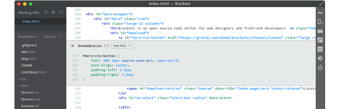 Screenshot of Brackets
