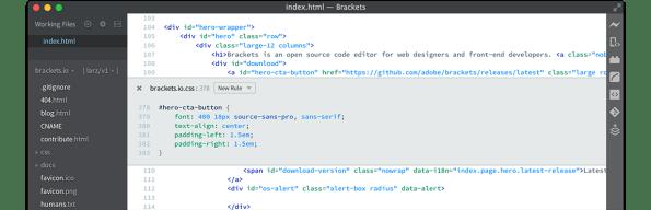 hero - Brackets - 由Adobe開發,好用、簡單又美觀的網頁編輯器