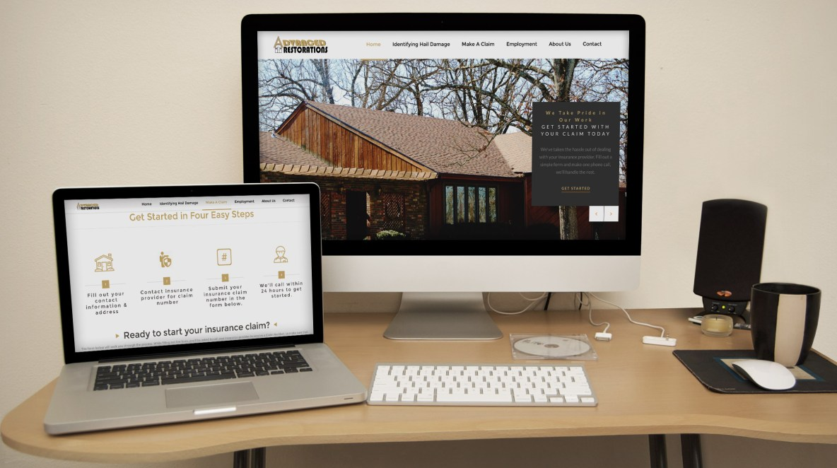 Roof Repair Restoration Website Mockup Example