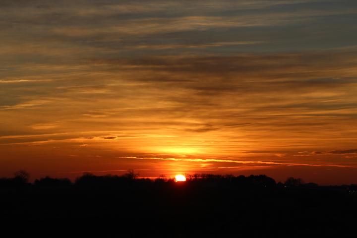 sun starting to show above the horizon