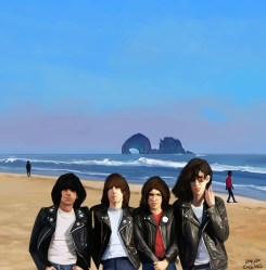 The Ramones at Rockaway Beach (west coast).