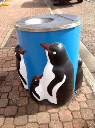 penguin bins on the main drag