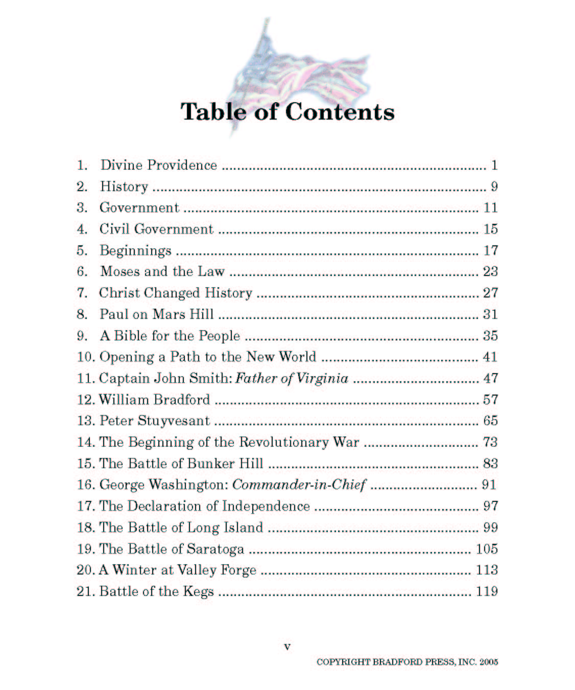 Divine Providence Table Of Contents