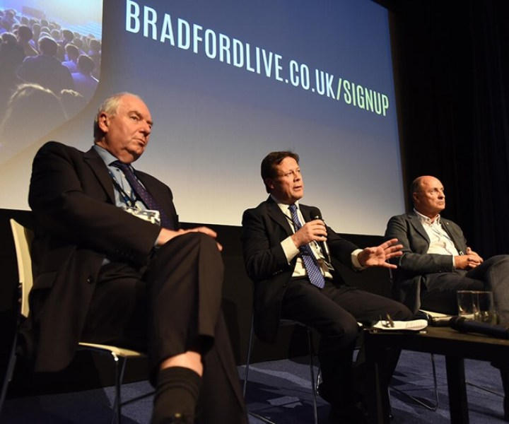 Ben Middleton (Bradford Council), Lee Craven (Bradford Live) and Phil Mead (NEC Group) courtesy of Bradford Live.