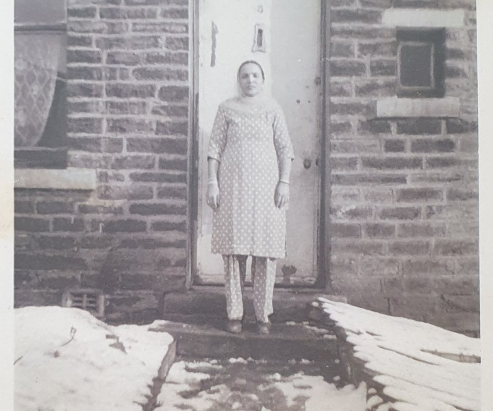 Bradford snow. Bibi Parkash Kaur in a picture depicting the first time that she would have seen snow.