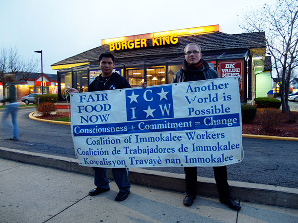The Coalition of Immokalee Workers and the Student/Farmworker Alliance held a demonstration for 'Fair Food' at a Burger King in Glen Ellyn, Illinois, a suburb west of Chicago, on April 13, 2007.
