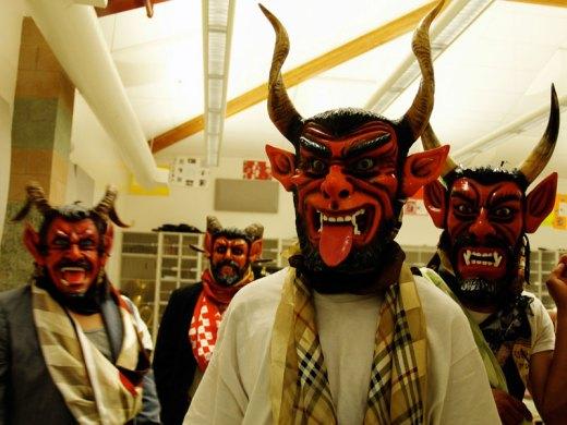 Dancers from Grupo Folklórico Se'e Savi prepare for the Danza de los Diablos (Dance of the Devils) at a Oaxacan Cultural Celebration in Greenfield, California on March 7, 2007.