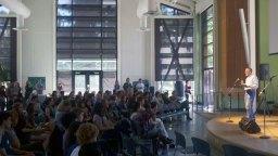 Santa Cruz Mayor Don Lane speaking on sustainability and eliminating homelessness in Santa Cruz.