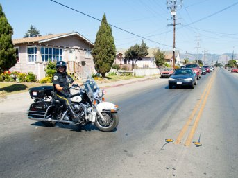 Watsonville Police Officer Blocks Traffic on Riverside Drive