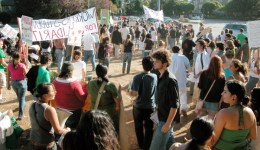 a few hundred students rallied at the base of UCSC