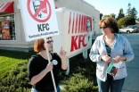 a KFC customer takes a flyer and learns about the boycott