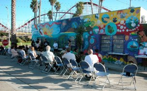A view of the mural with the Giant Dipper in the background