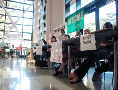 Tabling included activist organizations on campus and in the community.