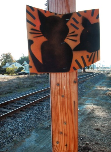 """the cats are ok, but the sign that says, """"Coastal Rail Trail Please enjoy"""" was no longer posted"""