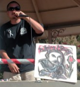 Rob of Dangerous Minds performing at the Plaza in downtown Watsonville after the Peace and Unity March