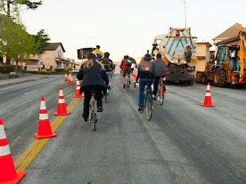 Bike Party through the Construction Zone