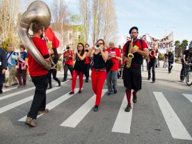 The Brass Liberation Orchestra makes loud on the streets to inspire, instigate, agitate, mourn, celebrate, and communicate.