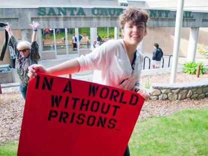 Kati Teague, Becky Johnson and Angel Alcantara in front of Santa Cruz County Jail