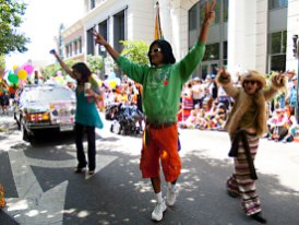 WAMM co-founder Valerie Corral marches with Curtis and other longtime collective members