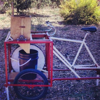Pedal-powered apple and pear crusher