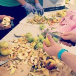 Preparing apples for the pedal-powered crusher at the Live Oak Grange
