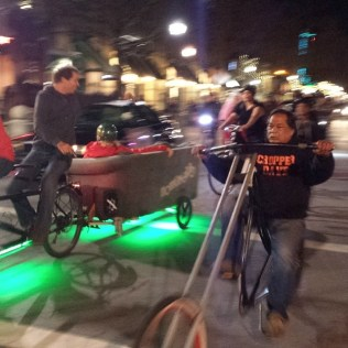 Chopper Dave and the Happening Couch rolling on Pacific Avenue with the Santa Cruz Bike Party Love Ride
