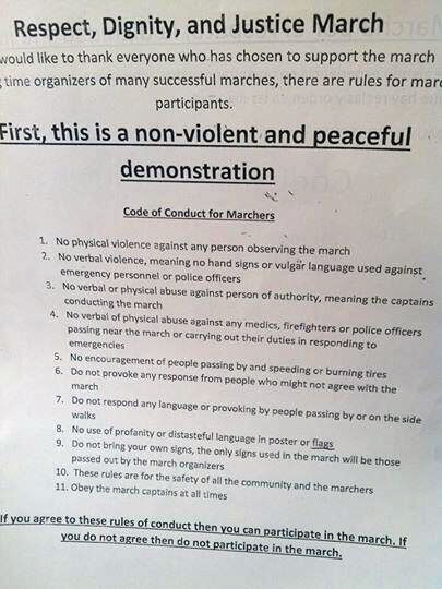 """Rules of Conduct"" for Marching Against Police Brutality"