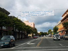 Peace and Unity March Banner over Main Street