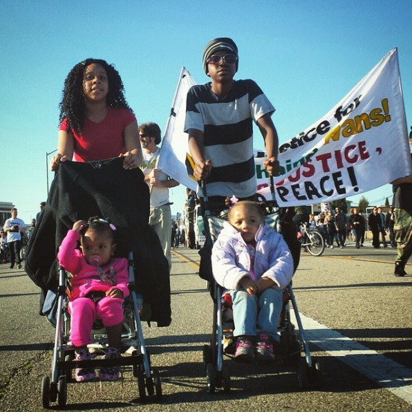 Marching on International Blvd. in East Oakland