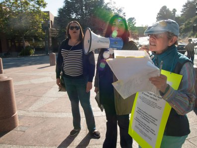 Willow Katz of Sin Barras speaks outside the Santa Cruz Post Office about Statewide Coordinated Actions To End Solitary Confinement.